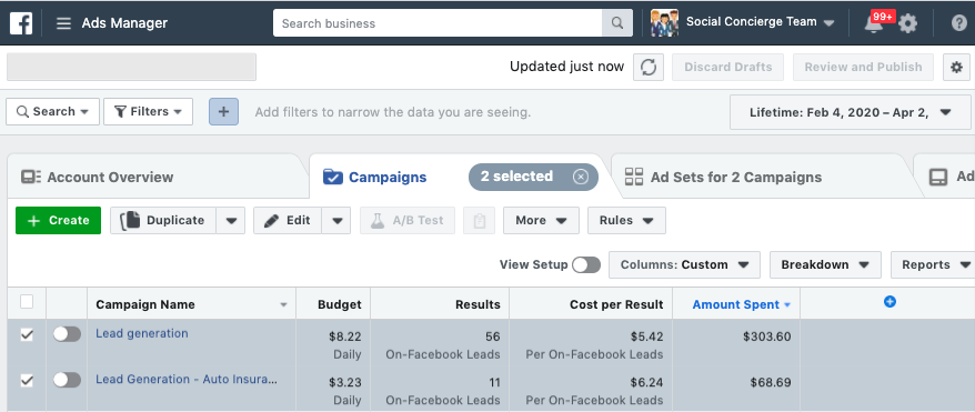 Facebook Lead generation ad results