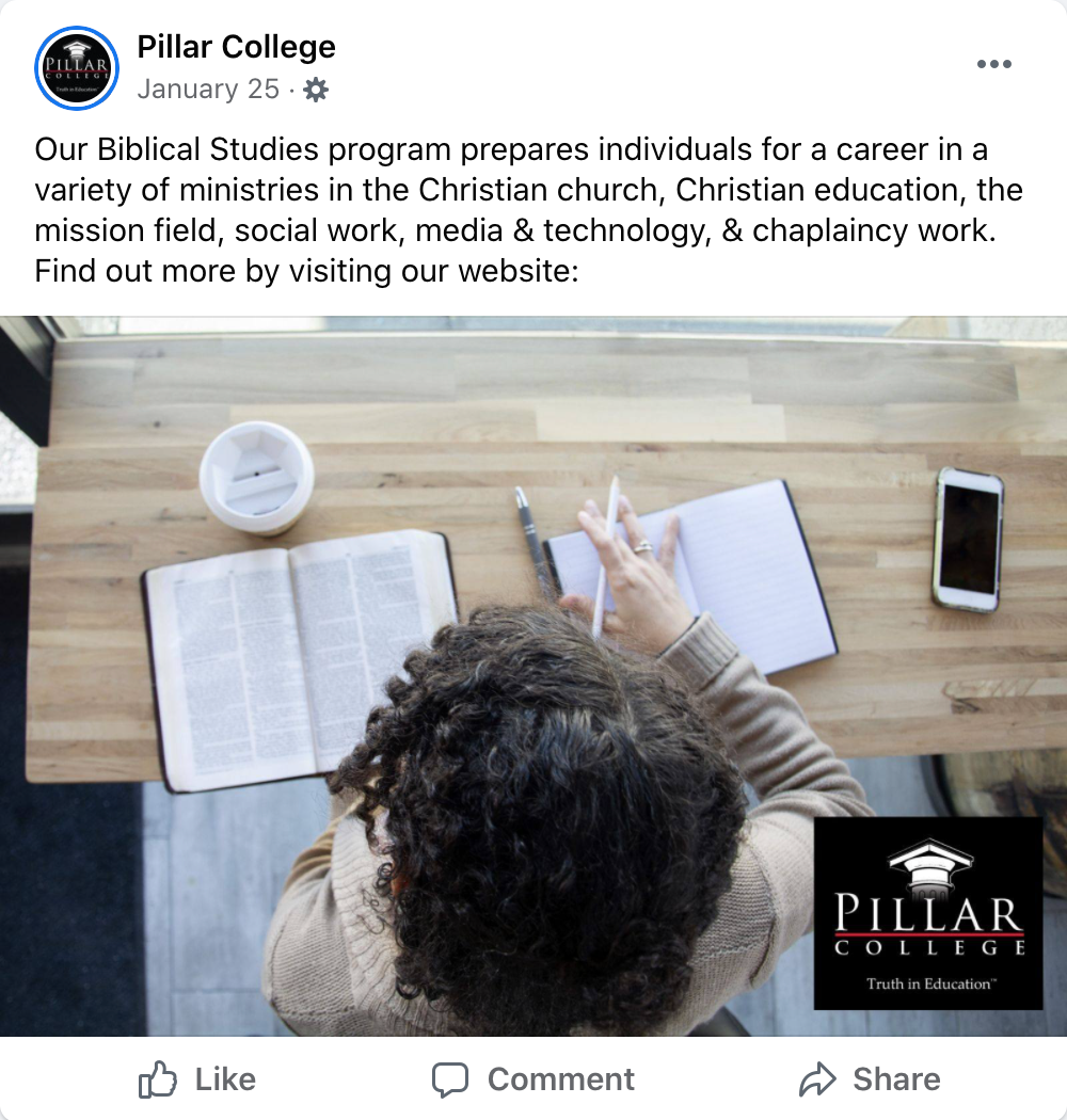Multi-Location Private Christian College Case Study,Pillar College social media case study