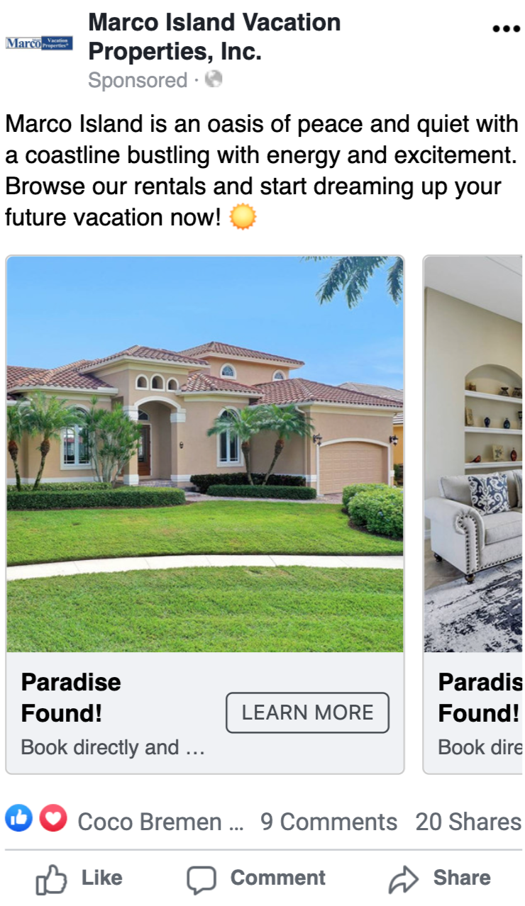Vacation Properties Rental Business Generates Over 17,000 Website Visits Per Year Using Paid Social Advertising, Marco islands vacation properties