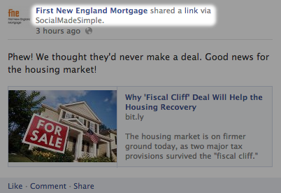 A post on First New England Mortgage's Facebook page, via SocialMadeSimple
